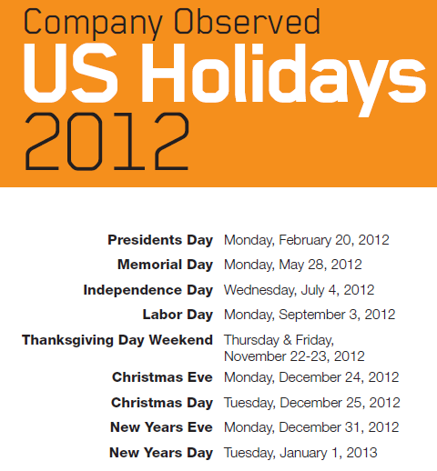 2012 Holiday Calendar Usa Printable